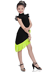 Shall We Children Performance Cotton Tassel(s) 2 Pieces Short Sleeve Natural Top / Skirt Latin Dance Outfits