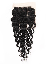 """1 Piece 4""""x4"""" Brazilian Human Hair Lace Closure Deep Wave Virgin Remy Hair Three Part Middle Part Freestyle Closure"""