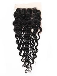 8 inch-20 inch Черный U Part Крупные кудри Человеческие волосы закрытие Умеренно-коричневый Швейцарское кружево 26 грамм СредниеРазмер
