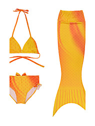 2016 New Fashion Summer Orange Mermaid Tail Princess 3pcs/set Bikini Swimsuit(Bikini top&Underwear &Tail)for 3~10Yrs