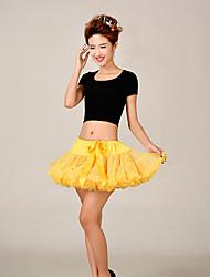 Anáguas Slip de Baile Longuete 2 Rede Tule Acrílico Amarelo