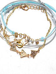 Light Blue Fabric Gold Chain Love Wrap Charm Bracelet Jewelry
