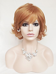 Europe And The United States  Shallow Gold 6 inch High Temperature Wire Short Curl Hair Wigs
