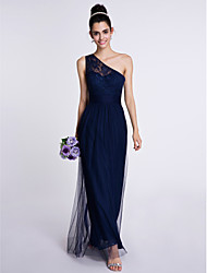2017 Lanting Bride® Ankle-length Lace / Tulle Bridesmaid Dress - Sheath / Column One Shoulder with Lace