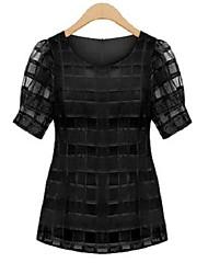 Damen Solide Street Schick Lässig/Alltäglich Bluse,Rundhalsausschnitt Sommer Kurzarm Weiß / Schwarz Polyester Dünn