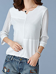 Women's Casual/Daily Plus Size / Simple Summer Blouse,Patchwork Round Neck ¾ Sleeve White / Black Polyester Medium