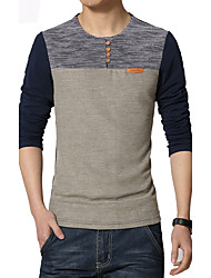 Men's Fashion Patchwork Buttons Decorative Casual O Neck Slim Fit Long-Sleeve T-Shirt,Polyester/Plus Size