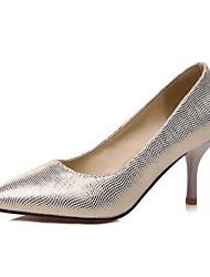 Mujer-Tacón Stiletto-Tacones / Confort / PuntiagudosExterior / Oficina y Trabajo / Vestido-PU-Azul / Plata / Oro