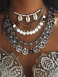 Femme Pendentif de collier Collier multi rangs Coquillage Alliage Mode Multicouches Argent Doré Bijoux Pour Soirée Quotidien Décontracté