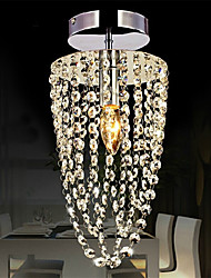 Flush Mount Modern LED K9 crystal chandelier Chrome 1-light, Kitchen, Dining Room, Bedroom Ceiling Lamp Transparent