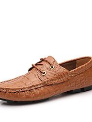 Men's Shoes Leather Wedding / Office & Career / Party & Evening  / Office & Career / Party & Evening Walking Flat Heel