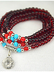 Fashionable Dark Red 90cm Round Strand Bracelets