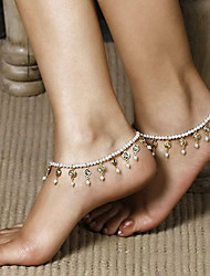 Women Summer Retro Sweet Pearl Beaded Crystal Elastic Anklet Alloy / Imitation Pearl Anklet 1pc