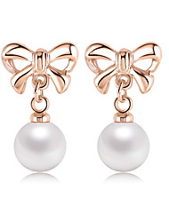 Bow Pearl Earrings 18K Rose Gold Plated White Pearl Stud Earring Jewelry For Women's Gifts