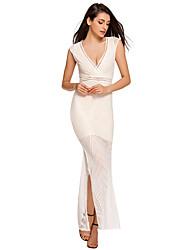 Women's  Lace Nude Side Slit Maxi Dress