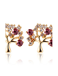 Stud Earrings AAA Cubic Zirconia Imitation Diamond Simulated Diamond Alloy Fashion Fuchsia Red Jewelry Daily 1 pair