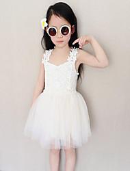 Vestido Chica de-Noche-Un Color-Poliéster-Verano-Blanco