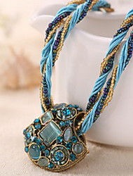Bohemia Colorful Fan-Shape Natural Stone Gem Peacock Animal Pendant Necklace with Acrylic Beads Strand Weave