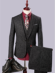 Black Linen Slim Fit Three-Pieces Suit