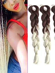 "1 Pack Brown Ombre Creamy White Crochet 24"" Yaki Kanekalon Fiber 100g 2 Tone Jumbo Braids Synthetic Hair with Free Hook"