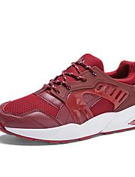 мужская обувь пу случайные моды кроссовки случайные ходьбе плоский каблук другие черный / синий / красный