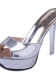 Women's Shoes Leatherette Summer Heels / Peep Toe Sandals Office & Career /  Casual Stiletto Heel Slip-onSilver