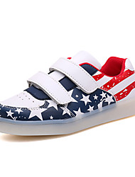 Boy's Sneakers Spring Summer Fall Winter Comfort Light Up Shoes Leather Casual Flat Heel Lace-up LED Blue Pink Light Blue