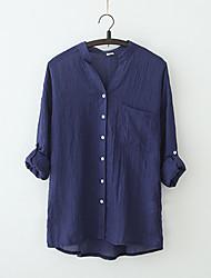 Для женщин На каждый день Лето Блуза V-образный вырез,Простое Однотонный С короткими рукавами,Хлопок,Полупрозрачная