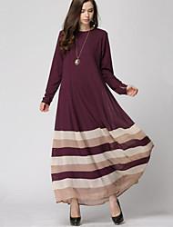 Women's Simple / Boho Rainbow Loose Large Size National Style Chiffion Dress,Round Neck Maxi