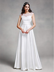 Lanting Bride® A-line Wedding Dress Floor-length Bateau Satin with