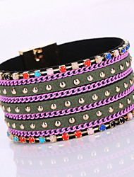Fashion Resin Rivet Colouredl Rhinestone Magnet Alloy Buckle Bracelet