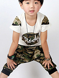 Boy's Casual/Daily Animal Print Clothing Set,Cotton Summer Green