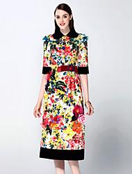мэри янь& ю женские выходя сложные платье линия / оболочка, вышитые рубашки воротник миди ½ длина рукава