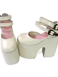 Sweet Lolita / Punk Lolita Leather 15 Wedge White Lolita Shoes