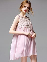 AFOLD® Women's Round Neck Sleeveless Knee-length Dress-5673