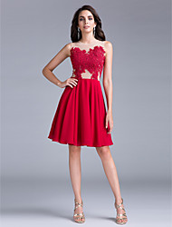 TS Couture Cocktail Party Dress A-line Jewel Knee-length Chiffon with Appliques