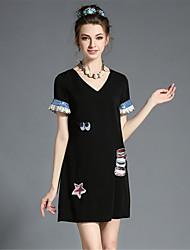 aofuli plus size mulheres de moda elegante bordado de lantejoulas v pescoço vestido de um sólido-line