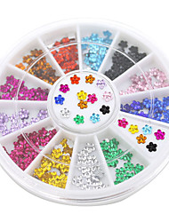 12 Colors Nail Art Crystal Glitter Rhinestone Flower Manicure Wheel Studs