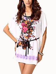 Damen Blumen Chinoiserie Lässig/Alltäglich T-shirt,Rundhalsausschnitt Sommer Kurzarm Blau / Rot / Lila Baumwolle Dünn