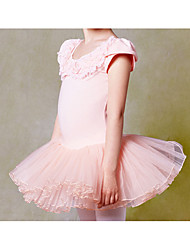 Ballet Outfits Children's Performance Lace Appliques 1 Piece Pink Ballet Short Sleeve Natural Dress