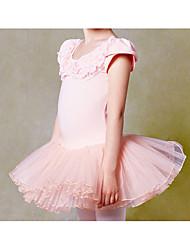 Ballet Outfits Children's Performance Lace Appliques 1 Piece Short Sleeve Natural Dress 100cm:48cm,110cm:50cm,120cm:52cm,130cm:54cm,