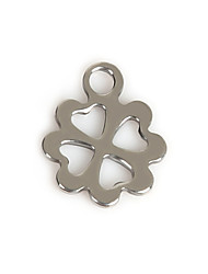 Beadia (50Pcs) 10x13mm  Clover Shape Stainless Steel Charm Pendant Fit Necklace & Bracelet