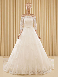A-Line Princess Off-the-shoulder Cathedral Train Tulle Wedding Dress with Appliques by LAN TING BRIDE®