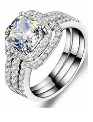 Anéis Fashion Casamento Jóias Prata de Lei Feminino Anéis Statement 1conjunto,5 / 6 / 7 / 8 / 9 / 8½ / 9½ / 4 Prateado