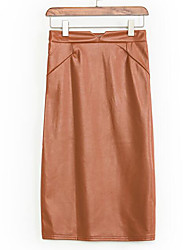 Women's Solid Over Hip Slim Elegance All Match Skirts,Simple / Street chic Above Knee