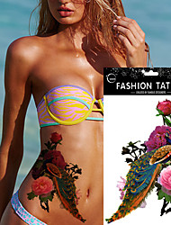 5 Sheet Colorful Peacock Drawing Peony Flower Tattoo Design  Women Body Art Temporary Tattoo Sticker
