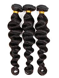 """Grado 7a 3 paquetes de color negro natural 10 de onda de la trama cabeza llena """"12"""" 14 """"100% brasileño sin procesar del pelo humano"""