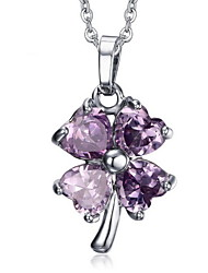 Women's Flower Design Purple Crystal Pendant for Necklace