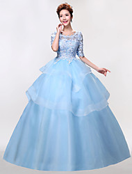 Formal Evening Dress Ball Gown Scoop Floor-length Lace / Tulle with Appliques / Beading