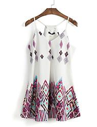 Gaine Robe Aux femmes Décontracté / Quotidien Vintage / Chic de Rue,Imprimé A Bretelles Mini Sans Manches Blanc Polyester Eté
